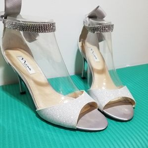 Silver dressy studded shoes